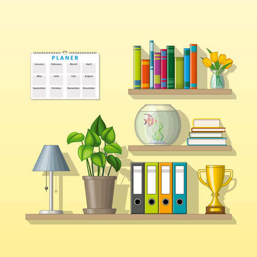Trophy books and green plants on the shelves vectors
