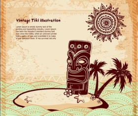 Tropical Aloha Tiki Poster Illustration vector