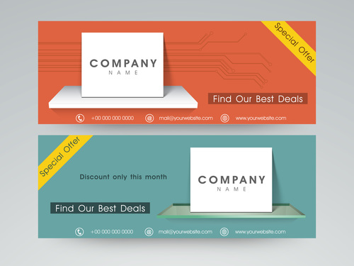 Two color Website Header and Banner vector