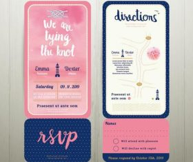 Tying the knot water colour wedding card template set vector