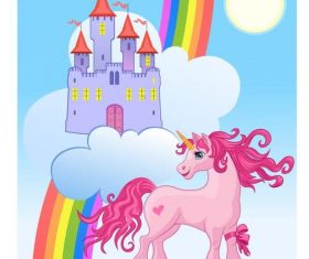 Unicorn and Rainbow Castle vectors