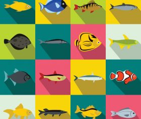 Various fish icons flat style vector