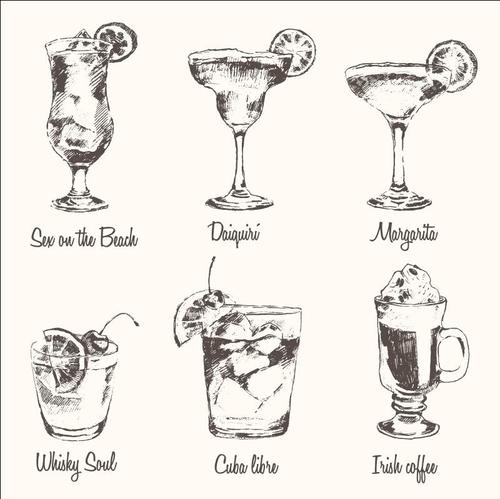 Vintage Cocktails blackboard menu vectors