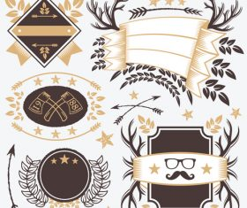 Vintage Stickers and Badges Templates Set vectors