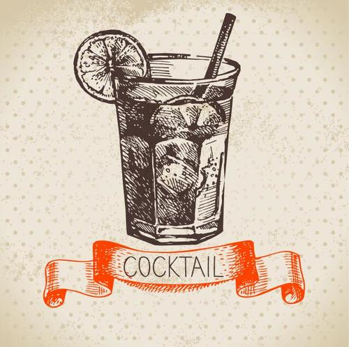 Vintage cocktail cover vectors