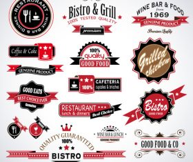 Vintage premium quality badges ribbons and labels vectors