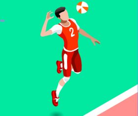 Volleyball Isometric 3D Vector Illustration