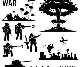 War icon silhouette vector