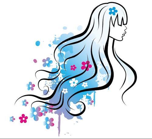 Watercolor girl and flower vectors