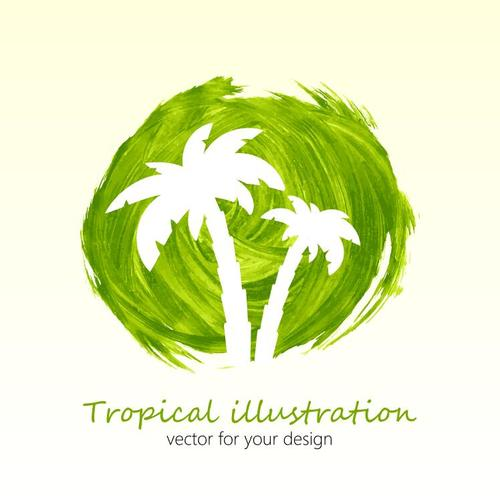 Watercolor splash palm tree vector