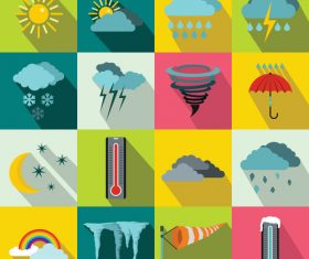Weather flat style icons vector