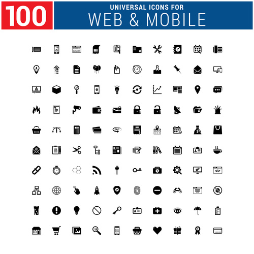 Web mobile Icons Collection Vector