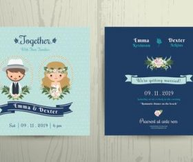 Wedding invitation card beach theme bride and groom portrait vector