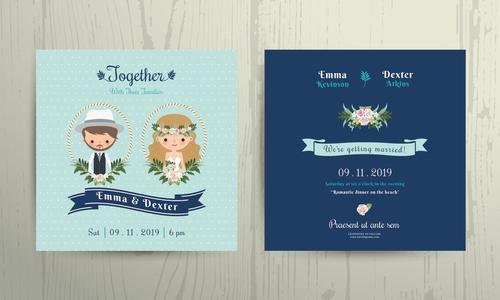 Wedding invitation card beach theme bride and groom portrait vector