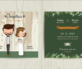 Wedding invitation card cartoon hipster bride and groom vector