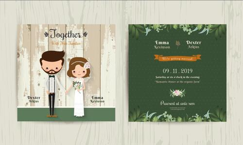 Wedding invitation card cartoon hipster bride and groom vector