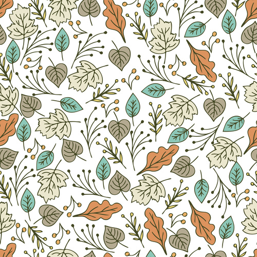 White background pattern hand drawn plants vector