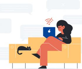 Woman and kitten sitting on the couch Illustrations vectors