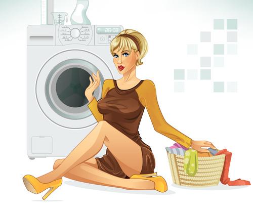 Woman washing clothes cartoon vectors