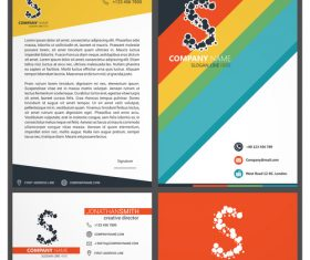 Yellow and red corporate identity template vector