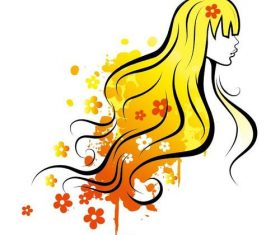 Yellow watercolor girl and flower vectors
