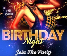 birthday night party flyer PSD template design