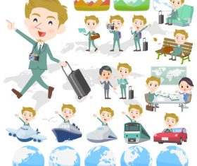 blond hair man White travel vector