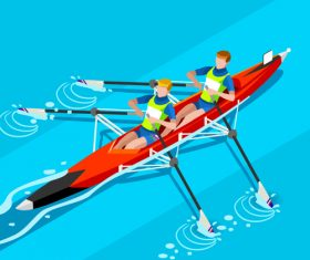 canoe rowing vector