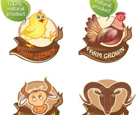 farm animals banners vector