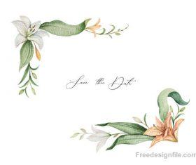 lilies decorative design watercolor vector 02