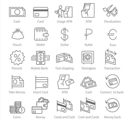 linear icons business and finance vector
