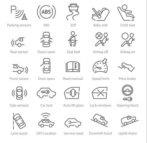 linear icons car systems and safety vector