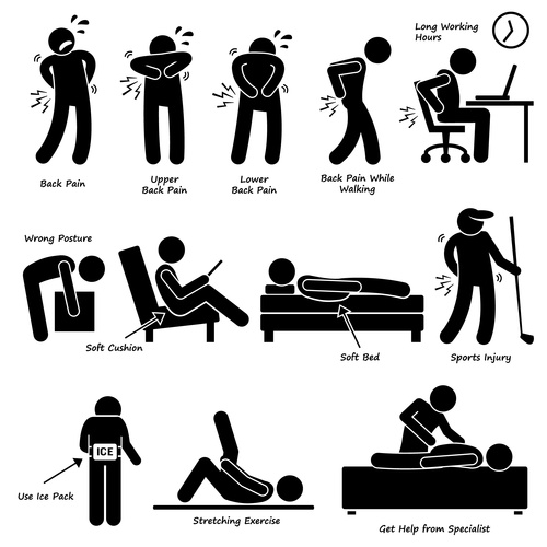 man long working hours low back pain icons vector