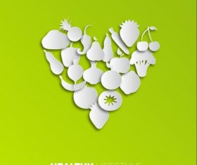 vegetables fruits paper vectors