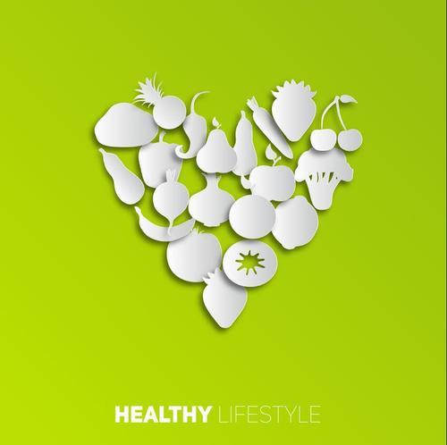 vegetables fruits paper vectors