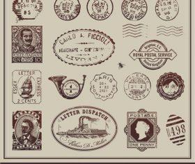 vintage postage stamps vectors
