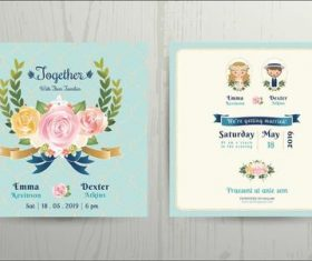 wedding cartoon bride and groom couple invitation card vector