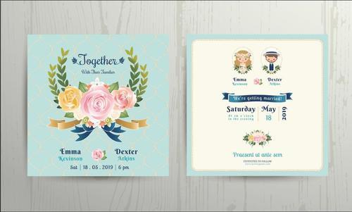 wedding cartoon bride and groom couple invitation card vector