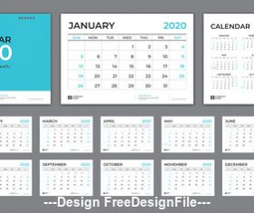 2020 desk calendar template design vector