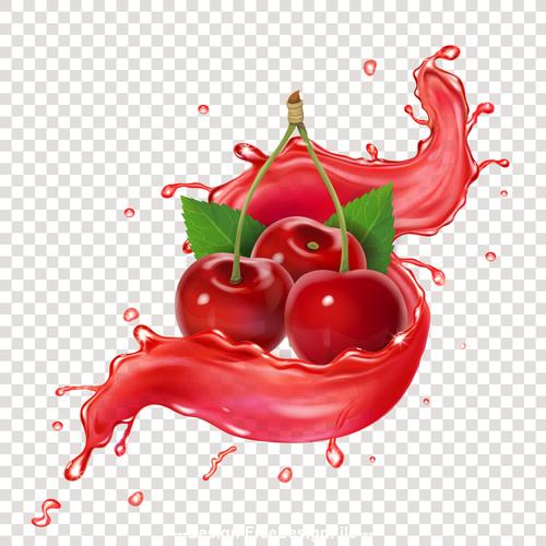 3D realistic cherry juice advertising vector packaging design