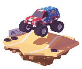 3d isometric racing vector