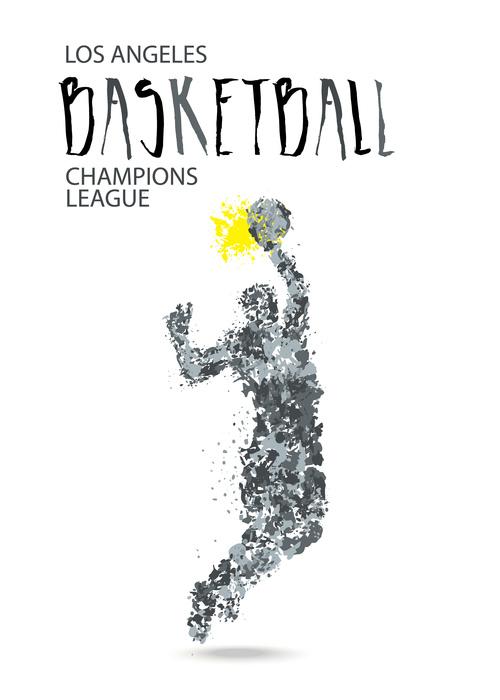 Abstract basketball game poster vector