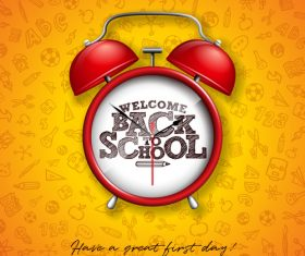 Alarm clock and Back to school design vector illustration