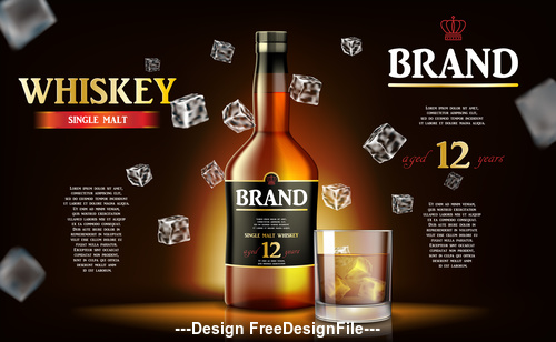 Alcohol drink realistic mockup vector 3d illustration