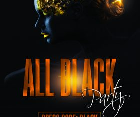 All black night party flyer psd template