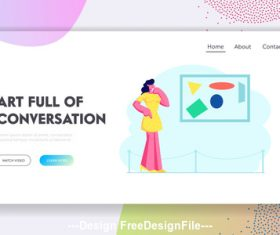 Art full of conversation flat banner vector