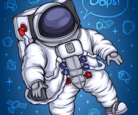 Astronaut in space and space objects background vector