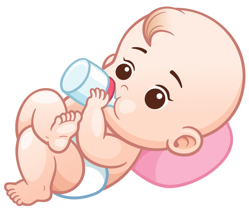 Baby drinking milk with vector illustration vector
