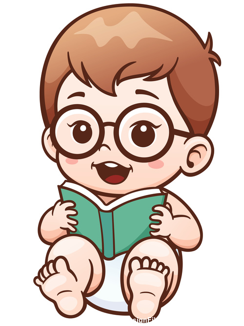 Baby reading a book vector illustration vector