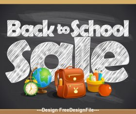 Back to School Poster school board black vector